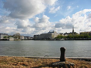 Bayonne - The confluence of the Adour and the Nive from the right bank of the Adour.