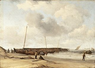 Beach with a Weyschuit Pulled up on Shore