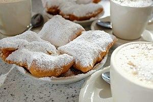 Café du Monde - Café au lait and beignets at Café du Monde in New Orleans