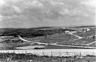 Beit Guvrin, Israel - View of Kibbutz Beit Guvrin from police station. 1949
