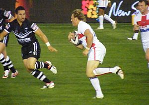 New Zealand at the 2008 Rugby League World Cup - England's Ben Westwood running at the New Zealand defence.