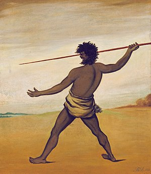 Black War - Image: Benjamin Duterrau Timmy, a Tasmanian Aboriginal, throwing a spear Google Art Project