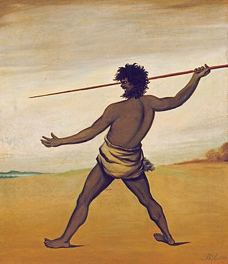 Black War - An 1838 painting by Benjamin Duterrau of a Tasmanian Aboriginal throwing a spear