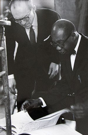 George Walker (composer) - George Walker (holding the score) going over his Address for Orchestra with Benjamin Steinberg of the Symphony of the New World, 1968