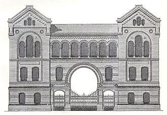 Cremer & Wolffenstein - Facade of the Lindenstraße Synagogue in Kreuzberg, Berlin (1889–1891); destroyed in the Reichspogromnacht.