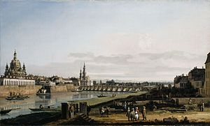 Dresden From the Right Bank of the Elbe Above the Augustus Bridge - Image: Bernardo Bellotto, il Canaletto Dresden vom rechten Elbufer mit der Augustusbrücke (National Gallery of Ireland)