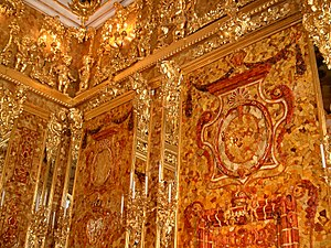 Amber Room - Corner section of the reconstructed Amber Room