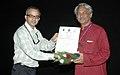 Bhupendra Khaintola felicitated the Director, Shri Girish Kasaravalli, at the presentation of the film, (Kanasemba Kudureyaneri) in the INOX Cinema Hall, during the IFFI-2010, in Panjim, Goa, on November 26, 2010.jpg