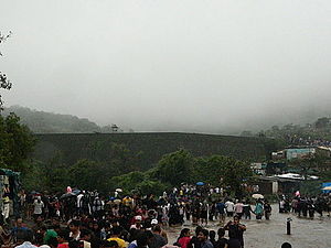 Bhushi Dam - Tourists gather around the dam.