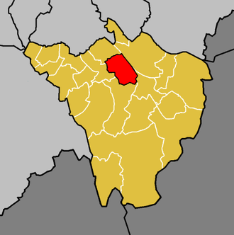 Bickley - The ward of Bickley (red) shown within the London Borough of Bromley (orange)