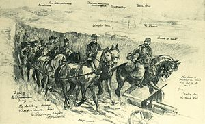 Haralamb Lecca - Romanian artillery during the 1916 campaigns (drawing by H. C. Seppings-Wright, The Illustrated London News)