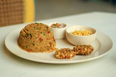 Bihari Style Pudina Chicken Pulao with Raita and Sabudana Cutlet.jpg