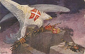 "Serbian eagle - An animated Serbian eagle breaks banners of ""enemies"" (Bulgarian, Ottoman and Hungarian in hands, Austrian in corner)."