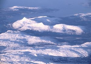 Austra - Aerial view from the east towards west, of Bindal municipality in Nordland county, Norway.