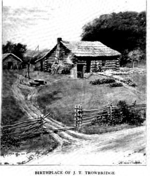 John Townsend Trowbridge - Birthplace of John Townsend Trowbridge. Showing the out-door oven and the Rochester Road. Drawn by Charles Copeland, from descriptions furnished by John T. Trowbridge and his eldest sister Mrs. Greene.