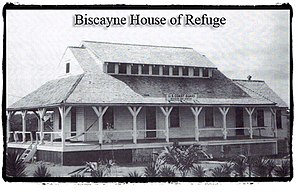 Houses of Refuge in Florida - The Biscayne House of Refuge between 1915, when it became a United States Coast Guard station, and 1926, when it was badly damaged in the Great Miami Hurricane. The dormer was added, probably after 1915. The original attic only had windows at the gable ends.