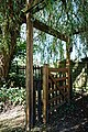 Black Lion High Roding, beer garden gate pergola, Essex, England 1.jpg
