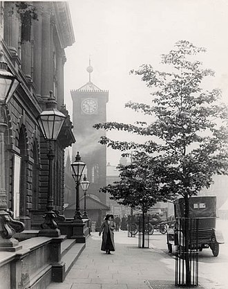Blackburn - Blackburn's old clock tower in 1906 with time ball at the top of its mast