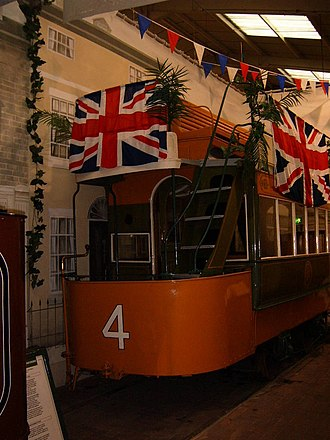 Conduit current collection - A conduit tramcar from Blackpool, on display at the National Tramway Museum