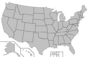 American National Rugby League - Image: Blank map of the United States