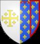 Blason corrigé: Parti: 1, d'argent, à la croix potencée d'or, cantonnée de quatre croisettes du même (Jérusalem); 2, parti: a, d'azur, semé de fleurs de lys d'or, au lambel de gueules (Anjou Sicile); b, d'azur, semé de fleurs de lys d'or, à la bordure de gueules (Anjou Valois).