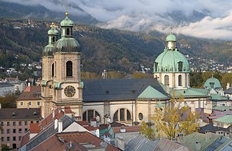 Tyrol (state) - A view from the tower of the old townhall to Innsbruck Cathedral.