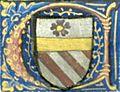 BnF Lat 4915 Mare historiarum 043v Lettre aux armes de Jouvenel.jpg