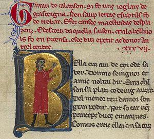 """Guiraut de Calanso - Girautz de calanson si fo uns ioglars de gascoigna. . . """"Guiraut de Calanso was a jongleur from Gascony. . ."""""""