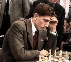 Bobby Fischer 1960 in Leipzig in color