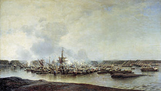 Battle of Gangut - Destroyed ships after the battle.