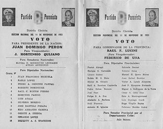 1951 Argentine general election - Ballot paper for Perón - Quijano.
