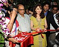 Bollywood Actress, Madhuri Dixit inaugurating the Short Film Center during the 42nd International Film Festival of India (IFFI-2011), in Panaji, Goa. The Chief Minister of Goa, Shri Digambar Kamat is also seen.jpg