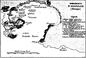 Battle of Acapulco - Map of the bombardment of Acapulco.