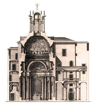 San Carlo alle Quattro Fontane - Section of San Carlo alle Quattro Fontane, ca. 1730