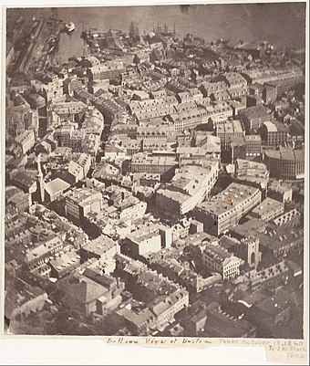 Boston, as the Eagle and the Wild Goose See It, 1860, by J.W. Black, the first recorded aerial photograph Boston, as the Eagle and the Wild Goose See It.jpg