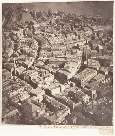 "''Boston, as the Eagle and the Wild Goose See It."" The first recorded aerial photograph, 1860, Boston. Boston, as the Eagle and the Wild Goose See It.jpg"