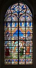Bouvines Eté2016 Vitrail 5 le comte de St-Pol, Gaucher III de Châtillon, et Guérin, évêque de Senlis.jpg