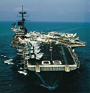 Bow view of USS Saratoga (CV-60) in the 1980s