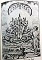 Brahma is praising Vishnu on the many headed snake in the middle of the ocean.jpg