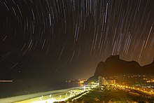 Brazil star trails and birds in light pollution in Rio beach at night