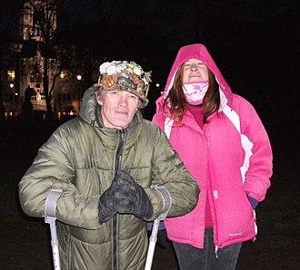 Barbara Grace Tucker - Brian Haw (on crutches) with Barbara Grace Tucker at Christmas 2009