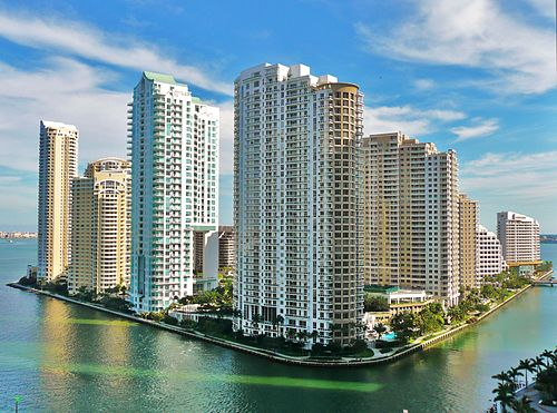 Brickell Key in Miami, FL, from the northwest is separated by water, requiring access by bridge Brickell Key from north 20100211.jpg