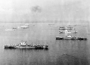 British Pacific Fleet - Image: British aircraft carriers at anchor c 1945