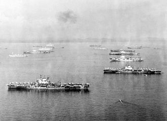 British Pacific Fleet - British aircraft carriers at anchor c. 1945