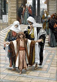 12-year-old Jesus found in the temple depicted by James Tissot