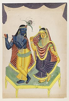 A painting of Radha and Krishna