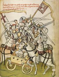 Cuadro de batalla entre caballeros montados