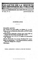 Bulletin de la société des historiens du théâtre