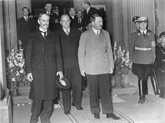 Sudeten Germans - Unsmiling, Neville Chamberlain (left) and Hitler leave the Bad Godesberg meeting, 23 September 1938.
