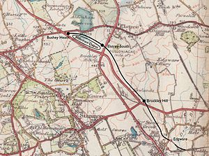 Bushey Heath tube station - Planned route of the Bushey Heath extension superimposed on a 1934 map showing the rural nature of the area